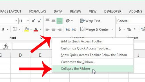 minimize the ribbon in excel 2013