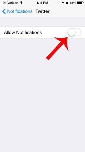 turn off the allow notifications option
