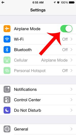touch the airplane mode button