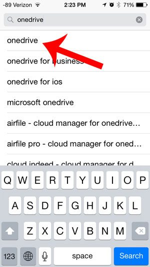 search for the onedrive app