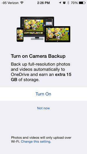 turn on the camera backup feature