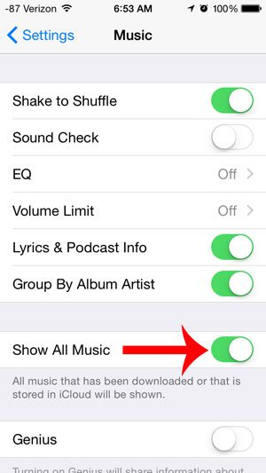turn on the show all music option
