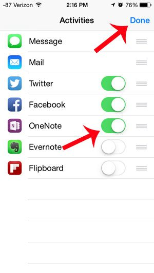 turn on the onenote option