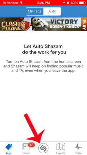 touch the shazam icon