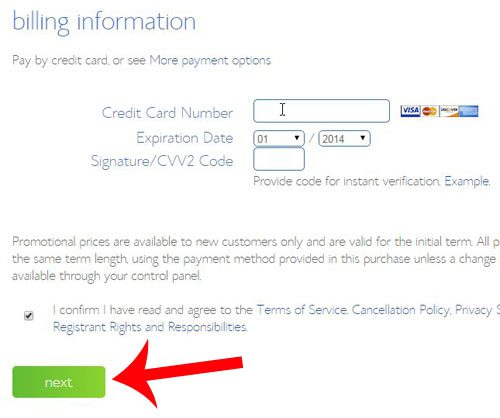 enter your credit card info, then click next