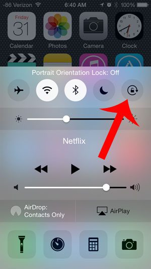 touch the lock icon to turn it off