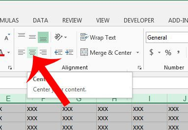 click the center button in the alignment section