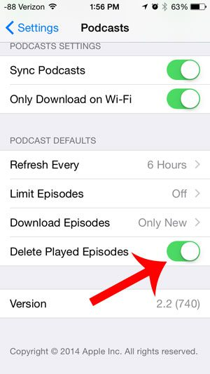 turn on the delete played episodes option