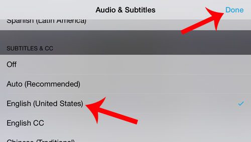 select the language for the subtitles
