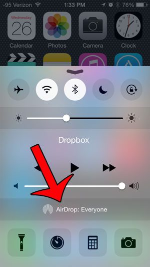 touch the AirDrop button