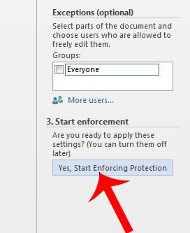 click the yes, start enforcing protection button