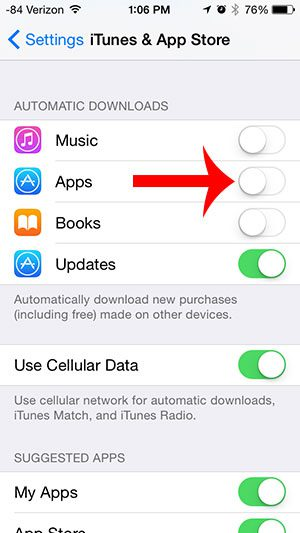turn off the apps option under automatic downloads