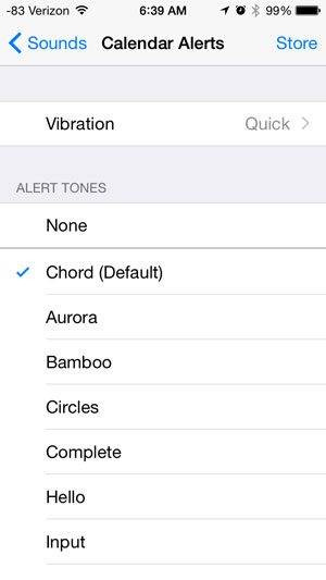 choose the new sound for calendar alerts