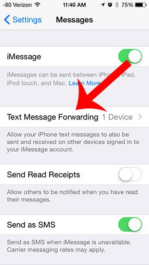 tap the text message forwarding button