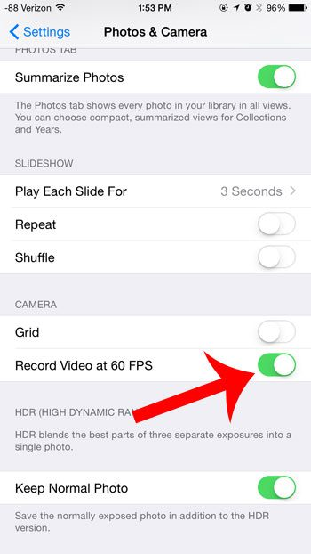 turn on the record video at 60 fps option