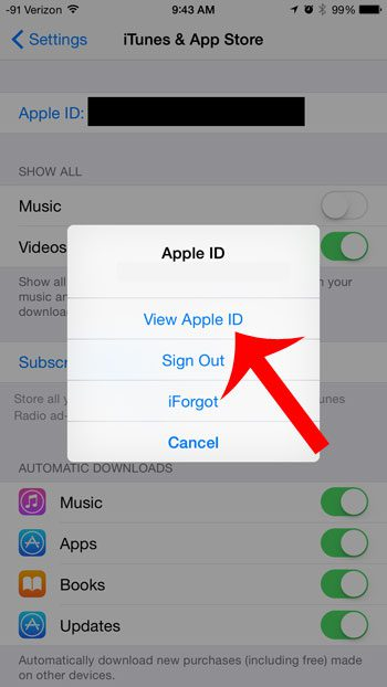 tap the view apple id button