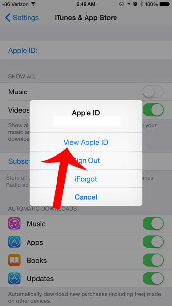 touch the view apple id button