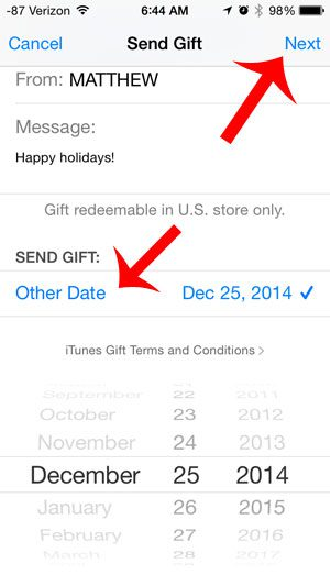 select the date for the gift to be delivered
