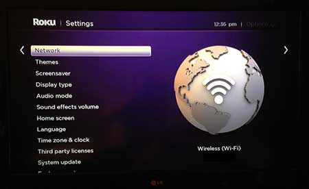 roku 3 network setup screen