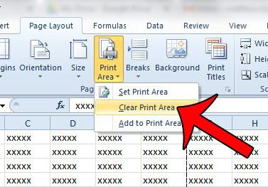 choose to clear the print area
