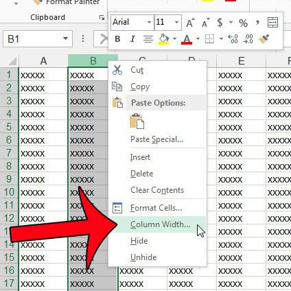 right-click column letter, then click column width