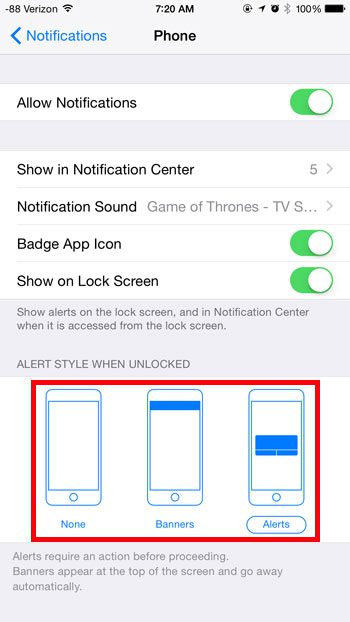 choose the type of notification