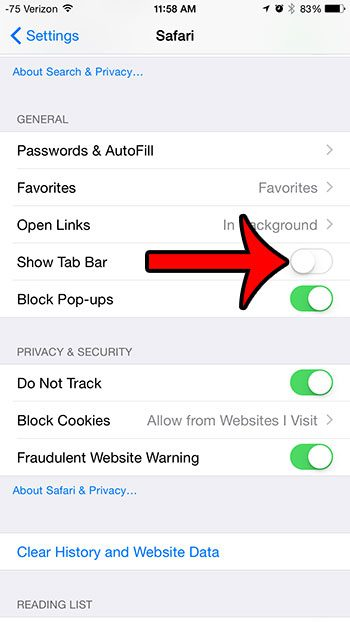 How to Hide the Tab Bar in Safari on an iPhone 6 Plus ...