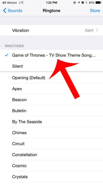 select the purchased ringtone to use