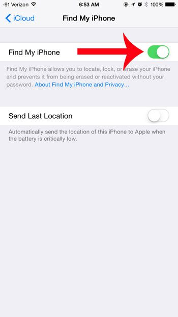 tap the button to the right of find my iphone