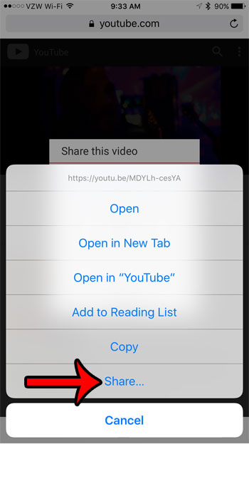tap and hold the link, then select the Share option
