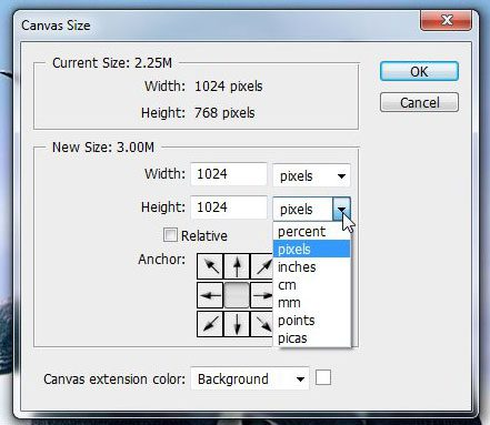 set the parameters for the new canvas size
