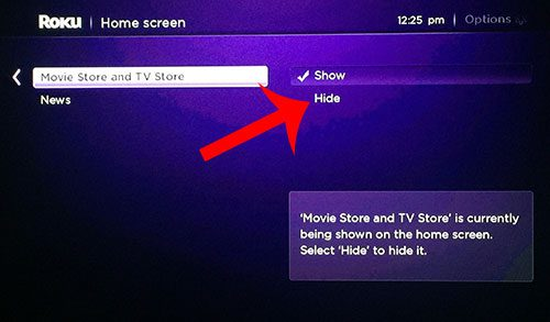 select the hide option