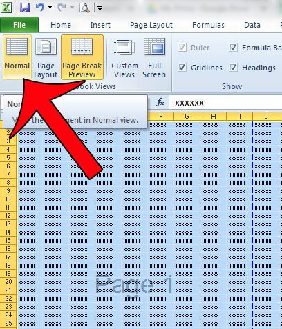switch the worksheet view