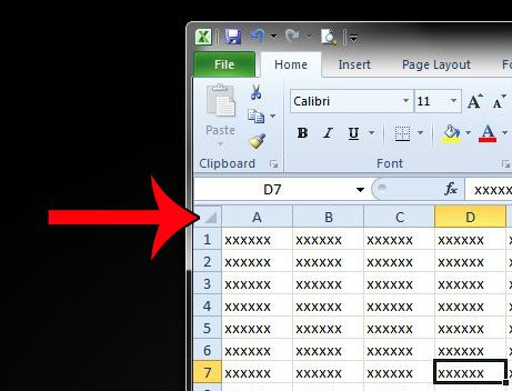 select all cells in excel 2010