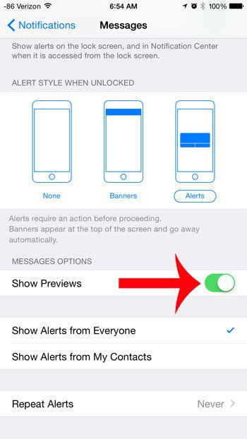turn on the show previews option