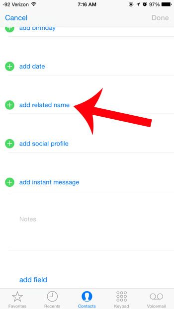 select the add related name option