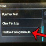 touch the restore factory default button