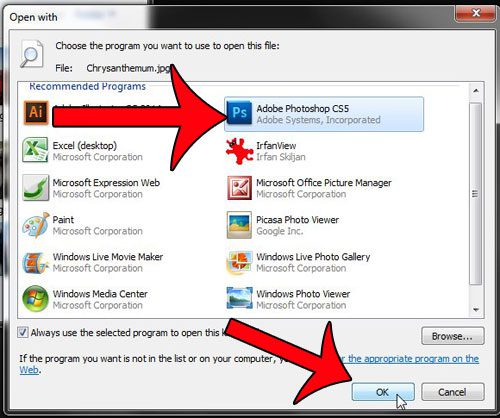 How to Open a JPG With Photoshop By Default in Windows 7 - Solve