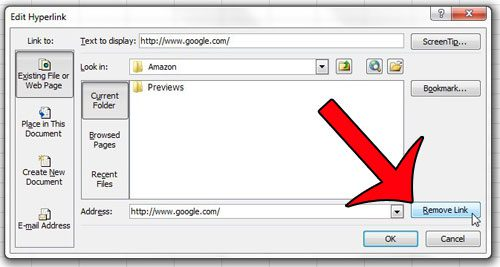 click remove link on the edit hyperlink window