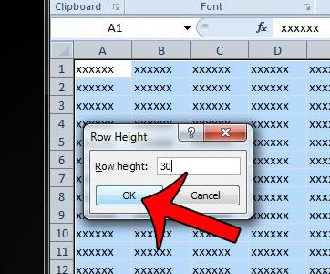 enter a new row height, then click OK