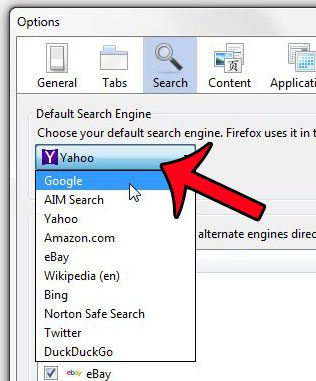 click the default search engine drop-down menu
