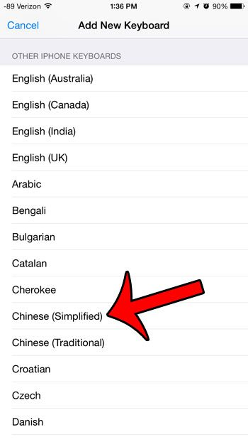 select the chinese (simplified) option