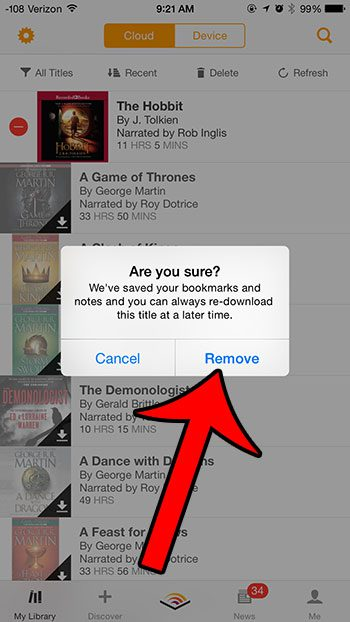 How to Delete a Downloaded Audiobook from the iPhone Audible