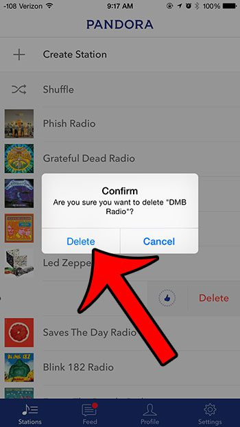 confirm that you want to delete the station