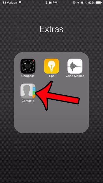 How do i get back my contacts icon on my iphone