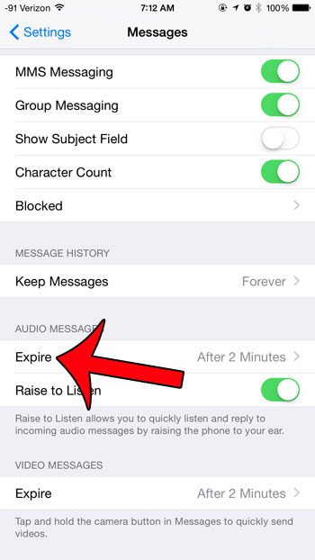 touch the expire button under audio messages
