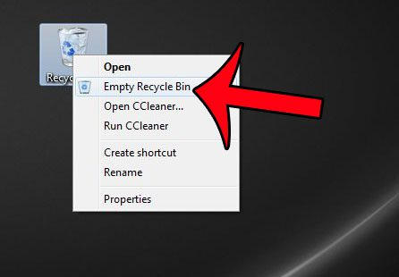 select the empty recycle bin option