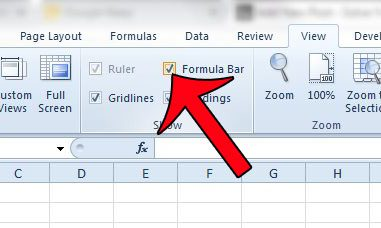 check the formula bar box