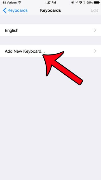 touch the add new keyboard button