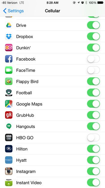 check for app sthat have cellular data turned off
